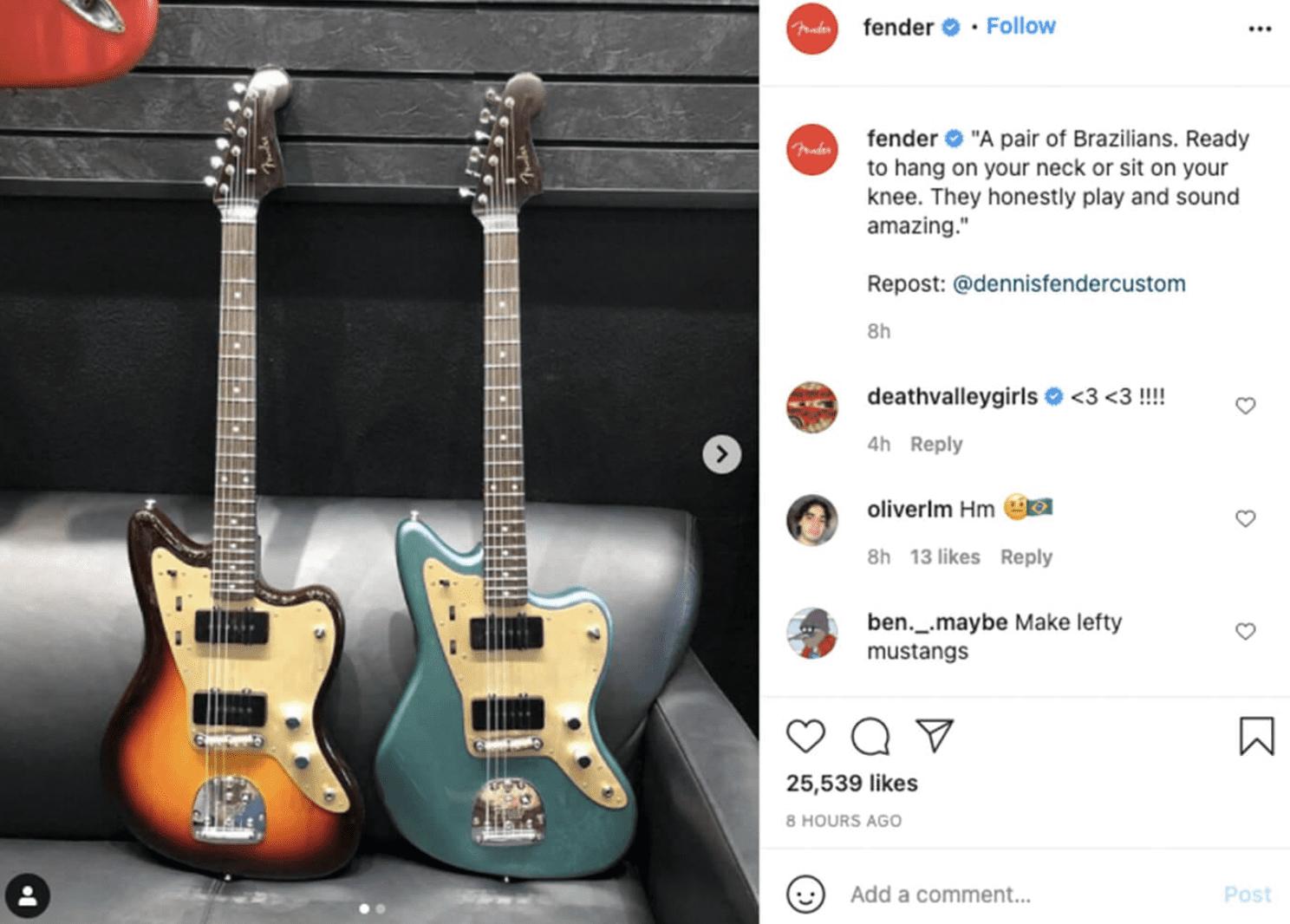 Fender Instagram post