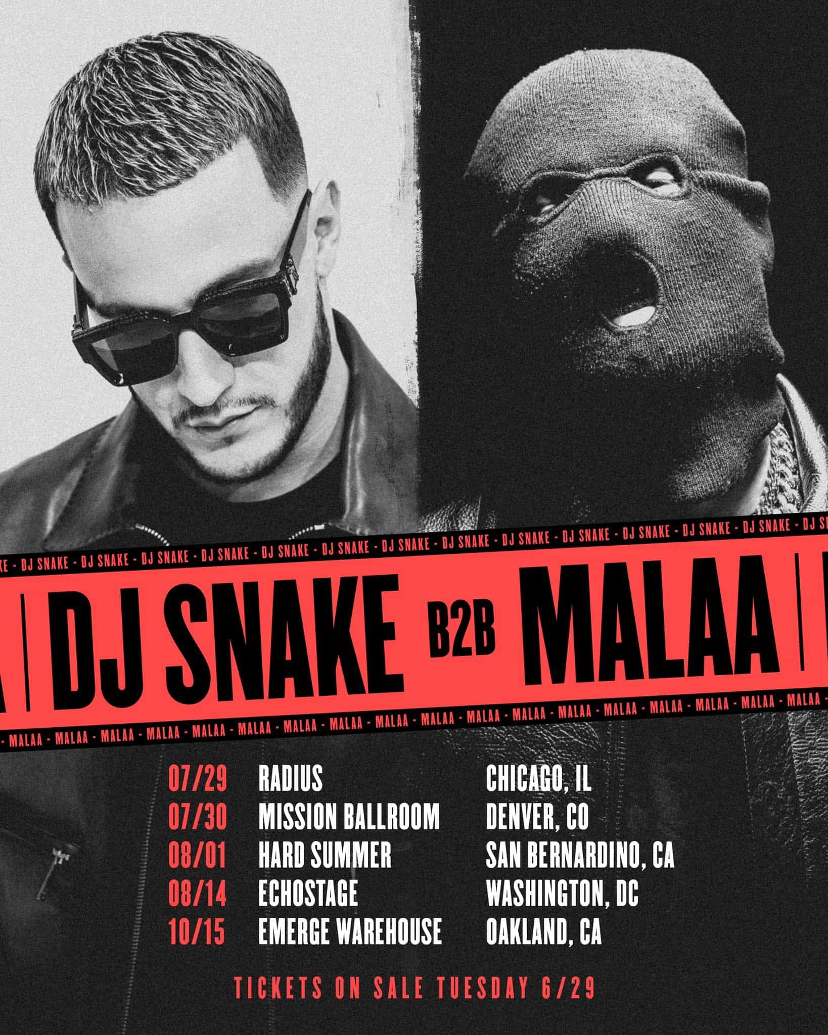 DJ Snake and Malaa to go B2B on a short North American Tour