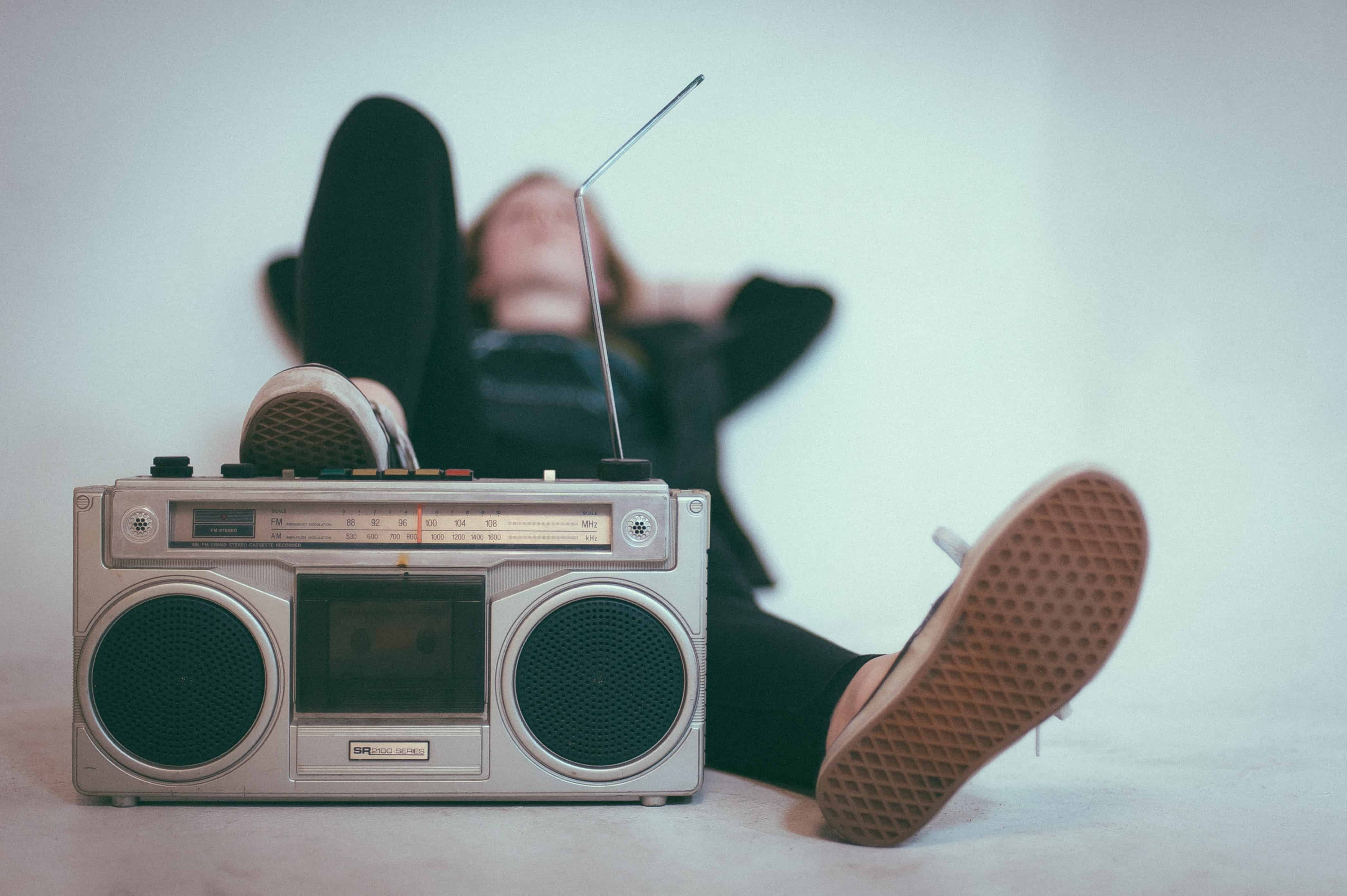 Listening to music boombox